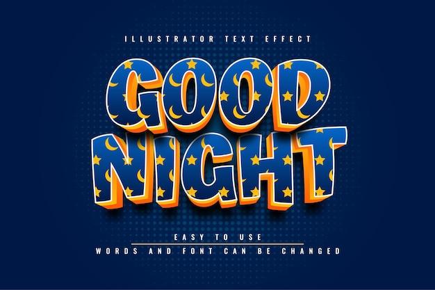 Dobranoc ilustrator edytowalny efekt tekstowy