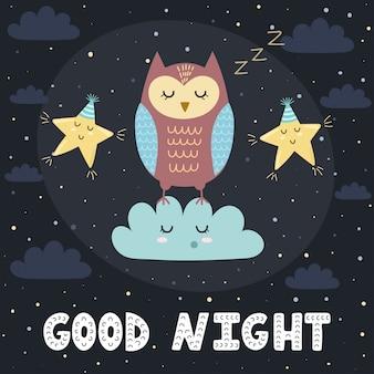 Dobranoc karta z śliczną sypialną sową i gwiazdami ilustracyjnymi