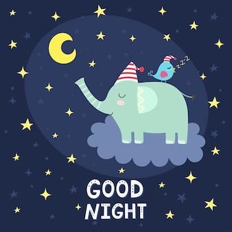 Dobranoc karta z ślicznym słoniem lata na chmurze