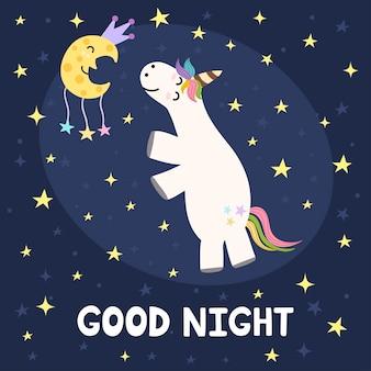Dobranoc karta z uroczym jednorożcem i księżycem.