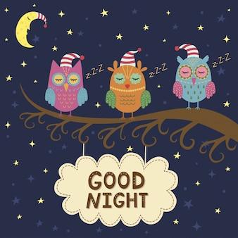 Dobranoc karta ze ślicznymi śpiącymi sowami.
