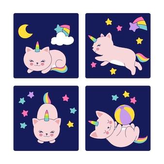 Dobranoc karty z sypialnymi kotami ilustracyjnymi
