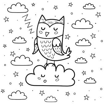 Dobranoc kolorowanka z uroczym śpiącym księżycem i chmurą. czarno-białe tło fantasy. wydrukuj słodkie sny do kolorowania książki dla dzieci. ilustracja