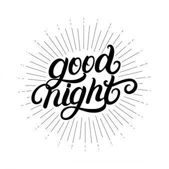 Dobranoc odręczny napis z promieni świetlnych, sunburst.