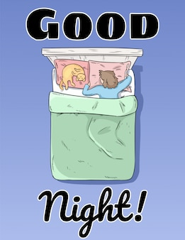 Dobranoc pocztówka. dziewczyna śpi spokojnie w swoim plakacie na łóżku