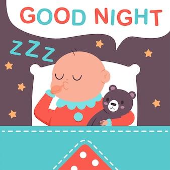 Dobranoc wektor ilustracja kreskówka słodkiego śpiącego dziecka przytulony koc.