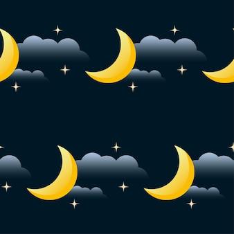 Dobranoc wektor wzór tła. kreskówka księżyc, gwiazda i chmura na białym na czarnym tle. motyw dobrej nocy i słodkich snów.