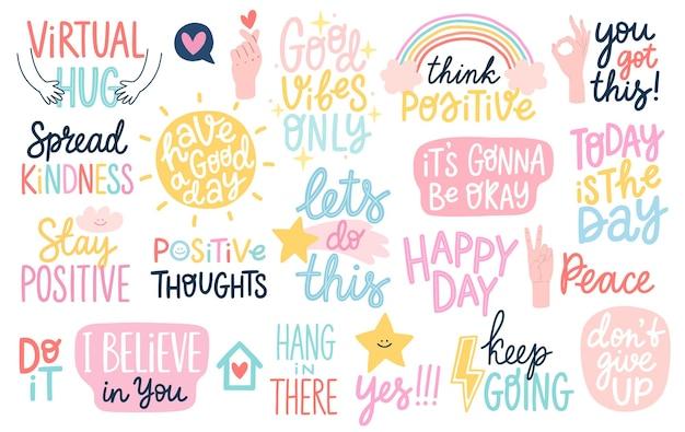Dobre wibracje i pozytywne myśli, litery i inne elementy ilustracji