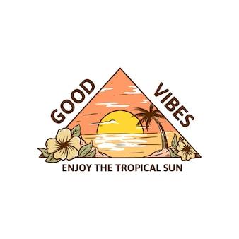 Dobre wibracje tropikalne słońce ilustracja t shirt plaża