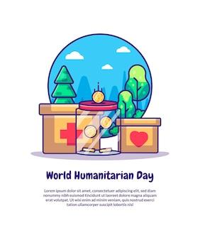 Dobroczynność i darowizny na światowy dzień humanitarny kreskówka ilustracje wektorowe. światowy dzień humanitarny ikona koncepcja izolowana premium wektor