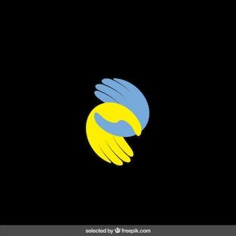 Dobroczynność logo z dwóch rąk sylwetki