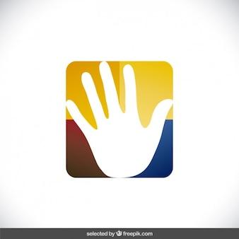 Dobroczynność logo z ręką w kwadracie