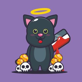 Dobry czy zły kot trzymający krwawą maczetę śliczną halloweenową ilustrację kreskówki