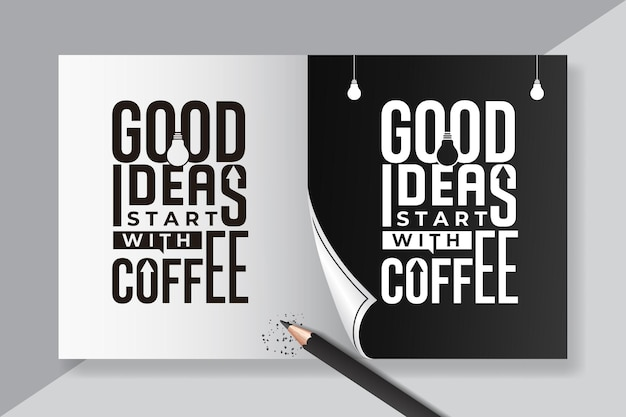 Dobry pomysł strat z cytatami z kawy napis vintage
