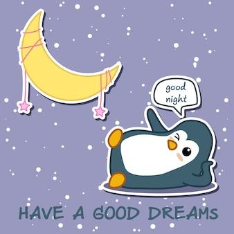 Dobrych snów. pingwin mówi dobranoc z księżycem.