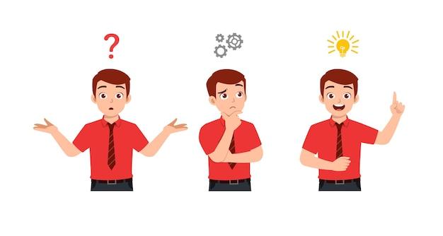 Dobrze wyglądający człowiek myśli i szukaj ilustracji procesu pomysłu