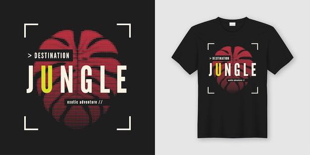 Docelowa dżungla. stylowy t-shirt i odzież w nowoczesnym stylu z tropikalnym liściem