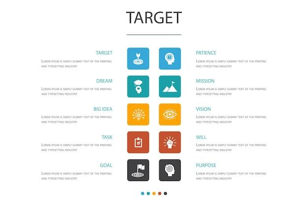 Docelowa koncepcja opcji infografika 10. duży pomysł, zadanie, cel, cierpliwość proste ikony