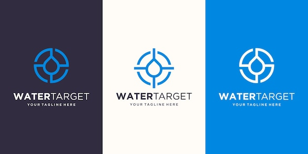 Docelowa woda logo projektuje szablon. krople symbolu w połączeniu ze znakiem celu.
