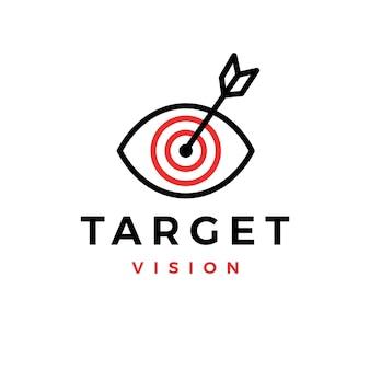 Docelowe oko wzrok strzałka wgląd rynku logo wektor ikona ilustracja