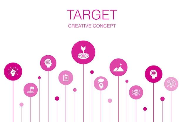 Docelowy szablon infografika 10 kroków. wielki pomysł, zadanie, cel, cierpliwość proste ikony