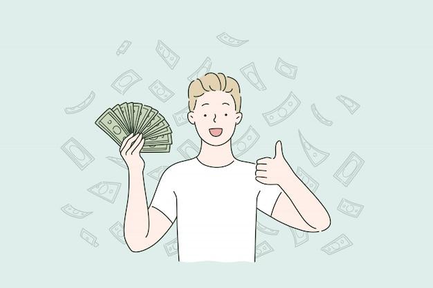 Dochód pasywny, spadające pieniądze, zwrot gotówki.