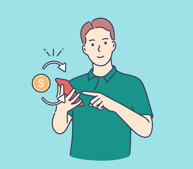 Dochód pasywny, zysk, cashback. młody mężczyzna otrzymujący cashback dla kupującego.