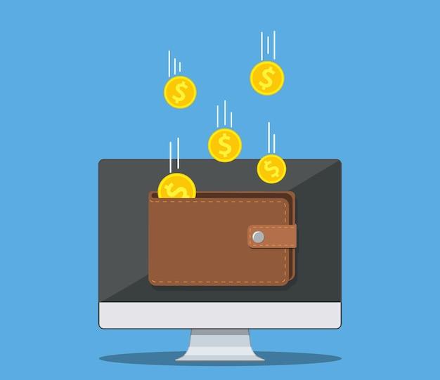 Dochody online w portfelu elektronicznym. złote monety latające w portfelu na komputerze pc, sukces finansowy, cyfrowe bogactwo. ilustracja wektorowa w stylu płaski