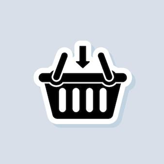 Dodaj do koszyka naklejka. ikona koszyka na zakupy. wektor na na białym tle. eps 10.