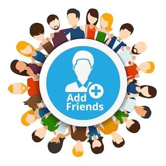Dodaj znajomych do sieci społecznościowej. internet społeczności, ilustracja przyjaźni internetowej