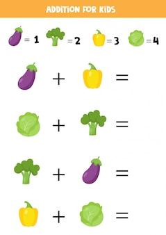Dodatek dla dzieci z bakłażanem, kapustą, pieprzem i brokułami.