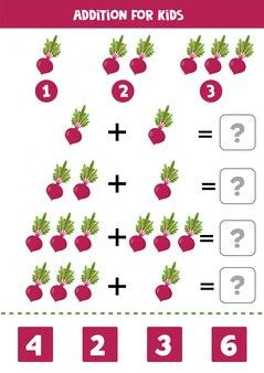 Dodatek z burakiem. rozwiązać równanie. gra matematyki dla dzieci.