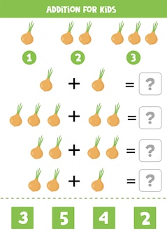 Dodatek z kreskówkową cebulą. gra matematyki dla dzieci.