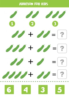 Dodatek z ogórkiem. rozwiązać równanie. gra matematyki dla dzieci.