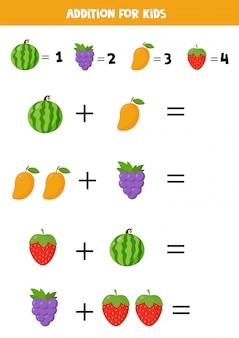 Dodatek z różnymi owocami z kreskówek. gra edukacyjna dla dzieci. podstawowa algebra. arkusz roboczy do wydrukowania do nauki liczenia. rozwiąż równania i zapisz odpowiedź.
