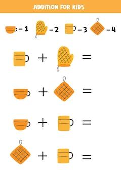 Dodatek z różnymi przyborami kuchennymi. edukacyjna gra matematyczna dla dzieci.