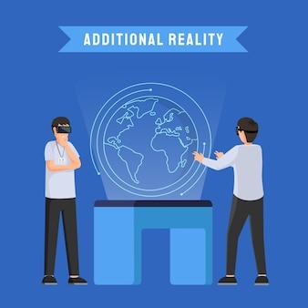 Dodatkowa rzeczywistość vr futurystyczna ilustracja