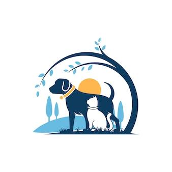 Dog Cat Logo Szablon Weterynaria