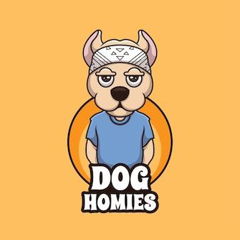 Dog homies cartoon gangster creative cartoon logo ilustracja maskotka design