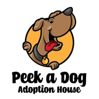 Dog peek cartoon logo maskotka
