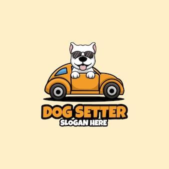 Dog seter kreatywne projektowanie logo dla zwierząt domowych
