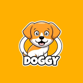 Doggy cute pet care shop cartoon kreatywne projektowanie logo