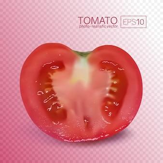 Dojrzała czerwona połowa pomidora na przezroczystym tle. fotorealistyczna ilustracja pomidora w przekroju podłużnym. można umieścić na dowolnym tle.