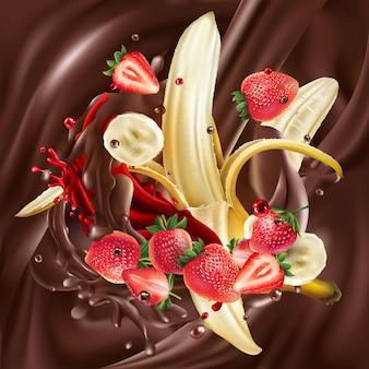 Dojrzałe banany i truskawki w płynnej czekoladzie.