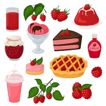 Dojrzałe czerwone jagody malinowe do świeżego soku lub soczystego dżemu i słodkiego ciasta deserowego z lodami ilustracja przypominająca jagody zestaw zdrowej diety na białym tle