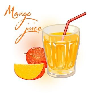Dojrzałe mango, całe i plasterki są obok szklanki żółtego nektaru, soku ze słomką.