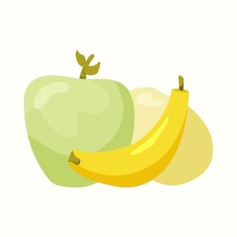 Dojrzałe owoce. jabłko, banan, mango. ilustracja wektorowa w stylu płaski