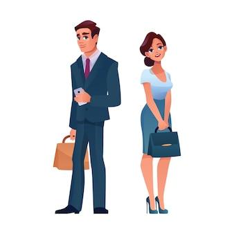 Dojrzały biznesmen i bizneswoman na białym tle kreskówek dorosłych ludzi
