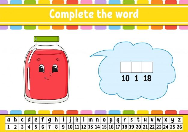 Dokończ słowa. kod szyfrowy. nauka słownictwa i liczb. arkusz rozwijający edukację.