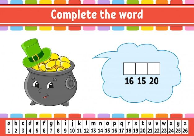 Dokończ słowa. kod szyfrowy. nauka słownictwa i liczb. garnek złota w kapeluszu.